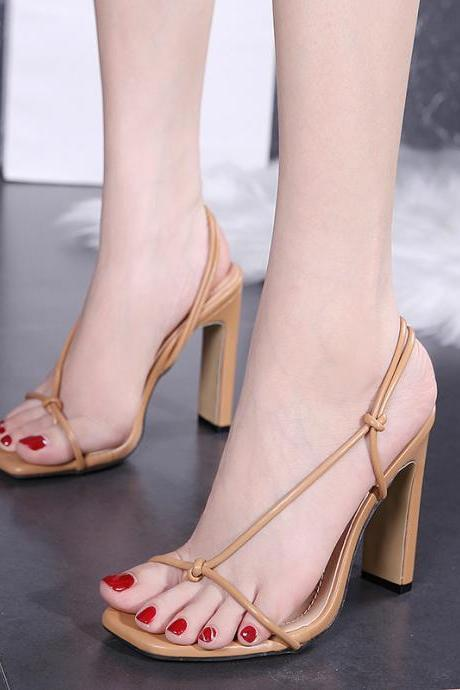 Clip toe square high heels Roman simple square sandals-Apricot