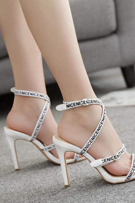 Letter ribbon high heeled sandals sexy thin heeled women's high heeled shoes-White