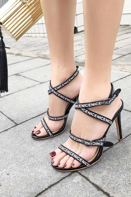 Letter ribbon high heeled sandals sexy thin heeled women's high heeled shoes-Black