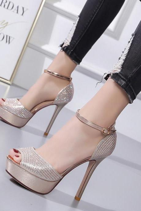 Super high heel sandals Rhinestone nightclub sexy 12cm fish mouth women's shoes-Golden