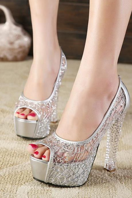 Gauze crystal heel thick high heeled women's sandals-Silvery
