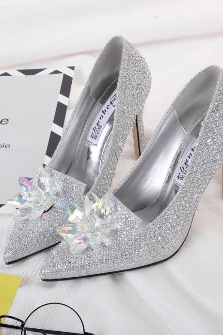 Diamond Cinderella pointed thin heel women's shoes