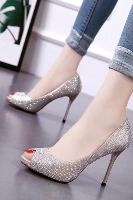 Fish mouth water drill thin heel high heel sandals-Golden