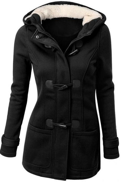 Pocket Flocking Long Women Hooded Coat