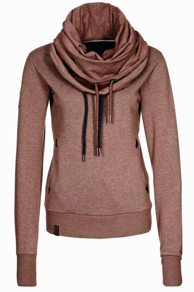 Cowl Neck Solid Color Womens Sweatshirt