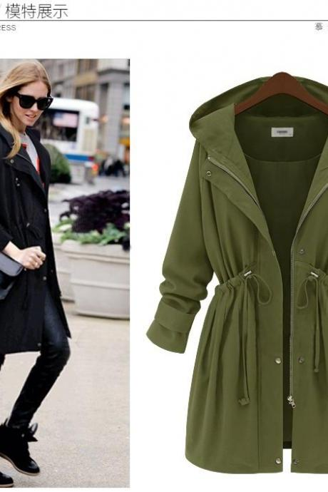 Womens Drawstring Zipper Hooded Long Coat
