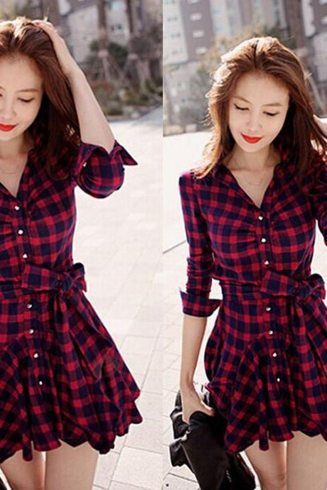Stylish Long Sleeves Lapel Plaid Short Dress Long Blouses with Belt