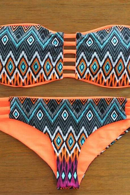 Retro Print Hollow Cut Out Straps Bikini Swimwear