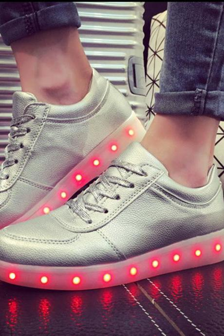 Unisex Cool LED Light Lace Up Luminous Flat Sneaker Shoes