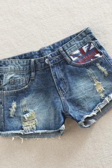 England Flag Print Rough Edges Hole Hot Shorts