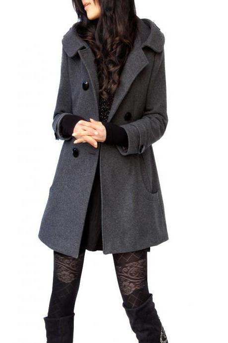 Woolen Double Button Hooded Slim Long Coats