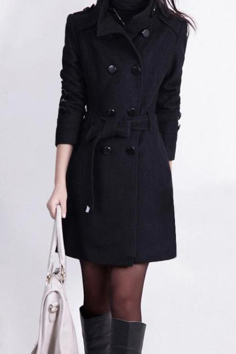 Stand Collar Double Button Belt Slim Plus Size Woolen Coat