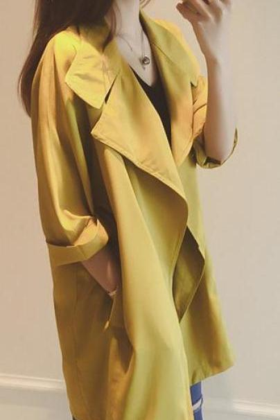 Slim 3/4 Sleeves Turn-down Collar Long Loose Coat