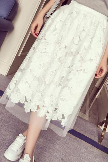 Elastic Lace Patchwork Hollow Sweet A-line Organza Skirt