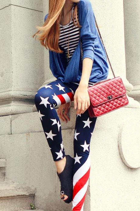 American Flag Print Milk Silk Thin Slim 9/10 Pants