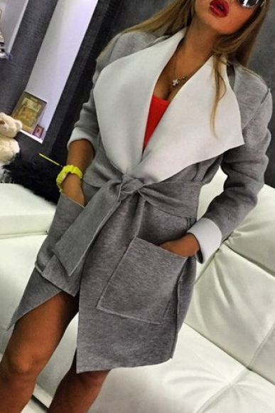 Grey Belt Lapel Pockets Coat