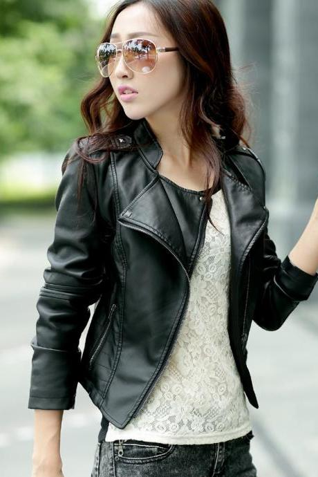Shoulder Strap Zipper Pockets Lapel Crop Jacket