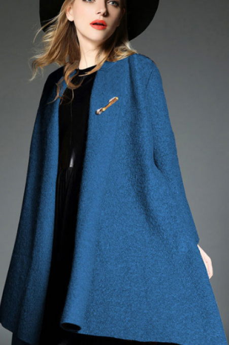Drape Cardigan Asymmetric Solid Coat