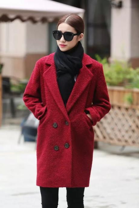 Lapel Double Breasted Pockets Solid Long Coat