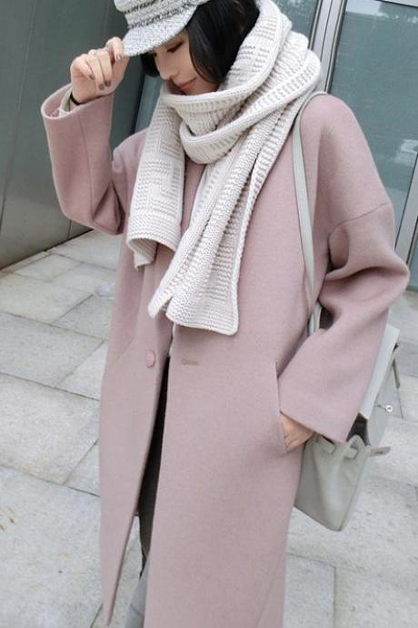 Dropped Shoulder Solid Split Loose Long Coat