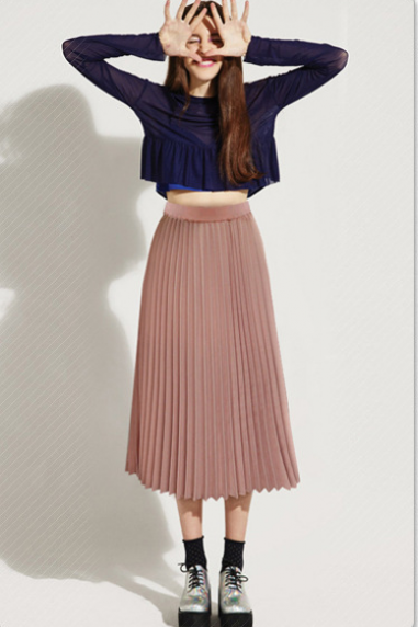 Solid Pleated Long Slim Skirt