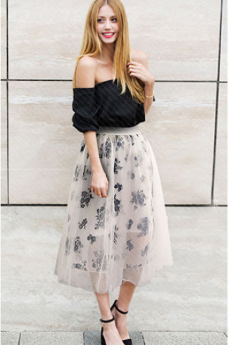Floral Pleated Flare Long Skirt
