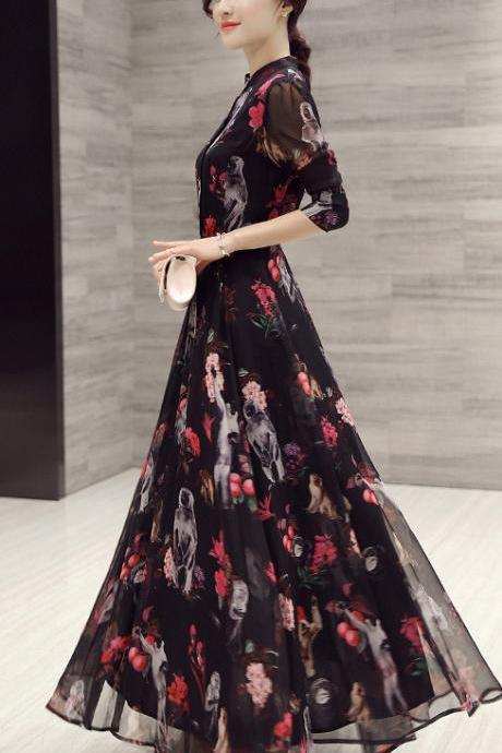 Long Sleeves High Neck Flower Print Loose Ankle Length Chiffon Dress