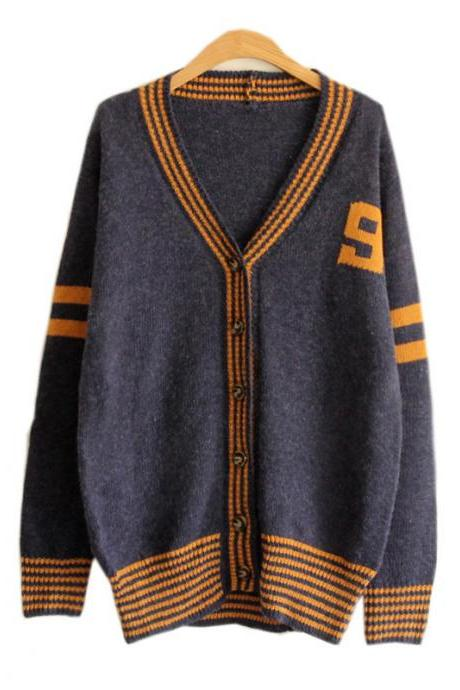 Korean Style Knit Cardigan V-neck Number Print Sweater