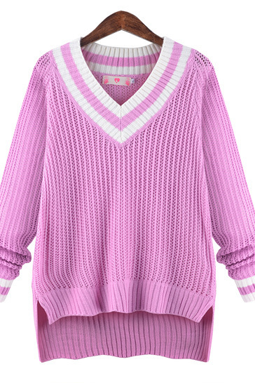 Peach Collar Sexy Knit Pullover Solid Color Sweater