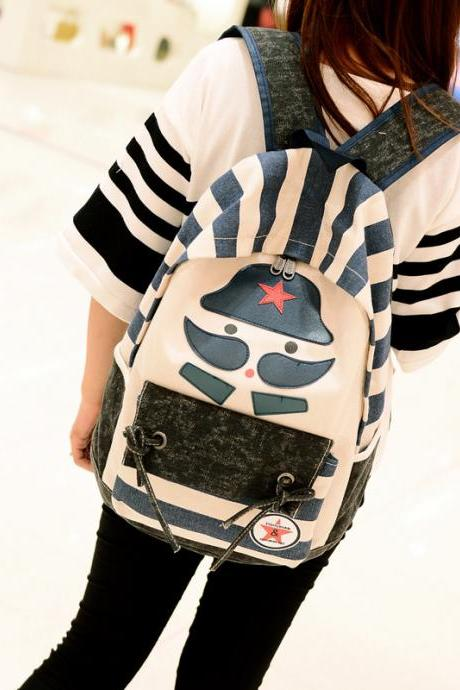 Splicing Canvas Mustache Soldier Backpack Travel School Bag