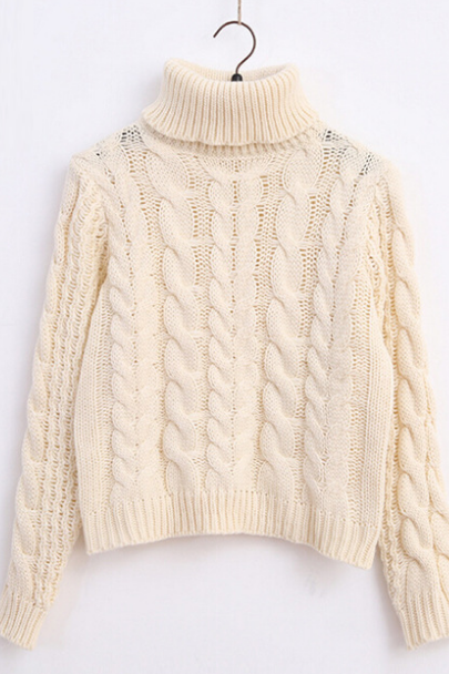 High Collar Knit Retro Upset Coarse Yarn Pullover Sweater