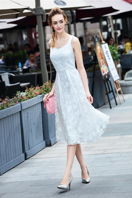 Lace Pure Color V-neck Sleeveless Knee-length Dress