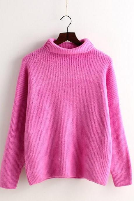 High Collar Loose Pullover Ribbed Knitted Sweater
