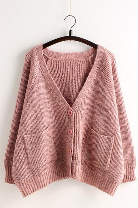 Big Pocket V-neck Batwing Knit Sweater
