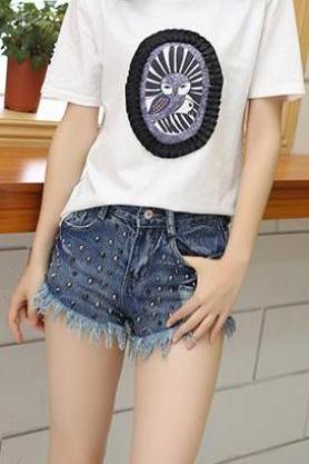 Rivet Rough Edges High Waist Slim Tassel Denim Shorts