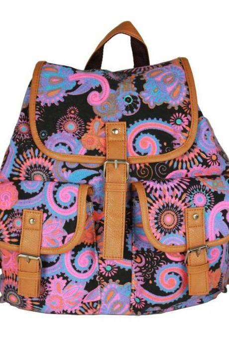 Ethnic Print Belt Buckled Cool Backpack Travel Bag