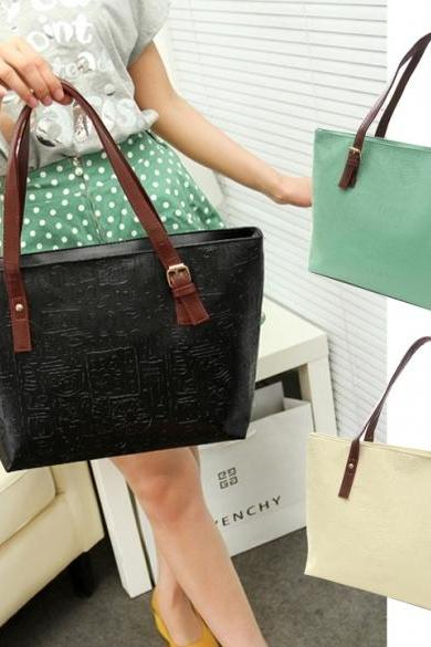 New Korean Lady Women PU Leather Messenger Handbag Shoulder Bag Totes Purse