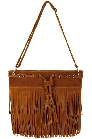 Zeagoo Fashion Women Lady Tassel Solid Casual Shoulder Cross Bag