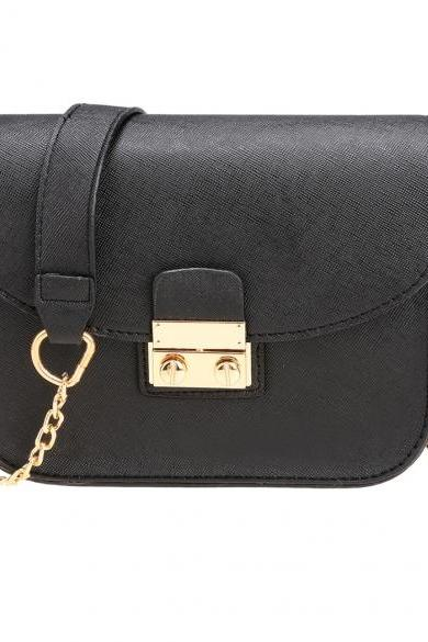 Synthetic Leather Mini Chain Crossbody with Buckle Clasp