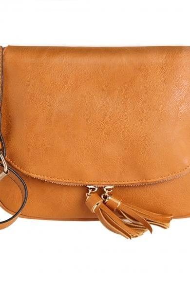 Sweet Women Girls Shoulder Bag Synthetic Leather Fringe Bag Cross Body Message Bag