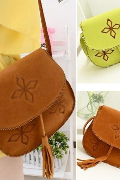 Fashion Women's Tassel Suede Fringe Shoulder Messenger Handbag Cross Body Bag