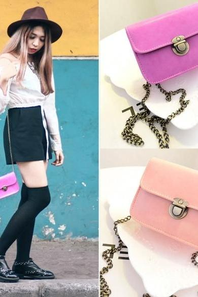 Stylish Women Synthetic Leather Metal Chain Bag Casual Mini Shoulder Bag Handbag