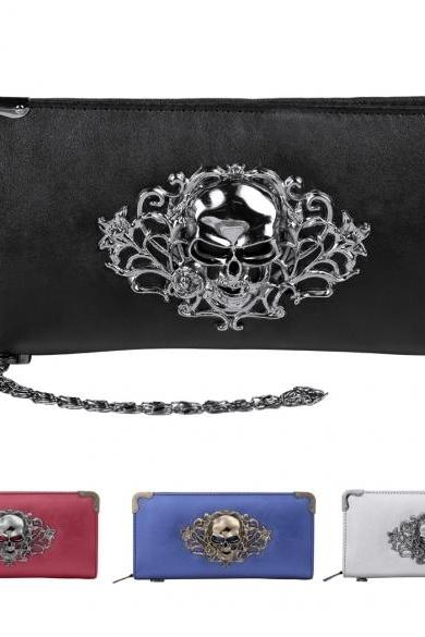New Women Fashion Skull Head Rivet Punk Handbag Long Purse Clutch Bags Wallet