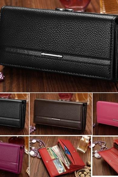Women Leather Button Bowknot Purse Clutch Fashion Synthetic Long Handbag
