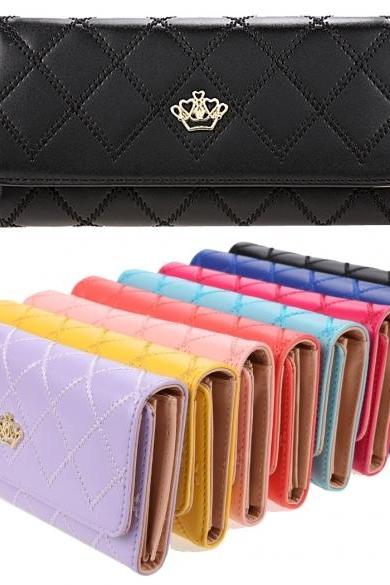 Fashion Ladies Women Clutch Long Purse Synthetic Leather Tri-Fold Wallet Card Holder Handbag