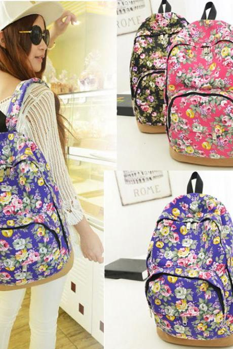 New Women's Vintage Floral Canvas Travel Rucksack School Bag Satchel Bookbags Backpack