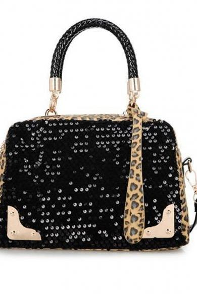 Leopard Sequins Style Designer Handbags Leather Handbags Women Messenger Bags Shoulder Bag