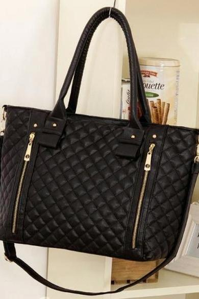 Black Retro Women Office Lady Quilted Shoulder Tote Bag Handbag