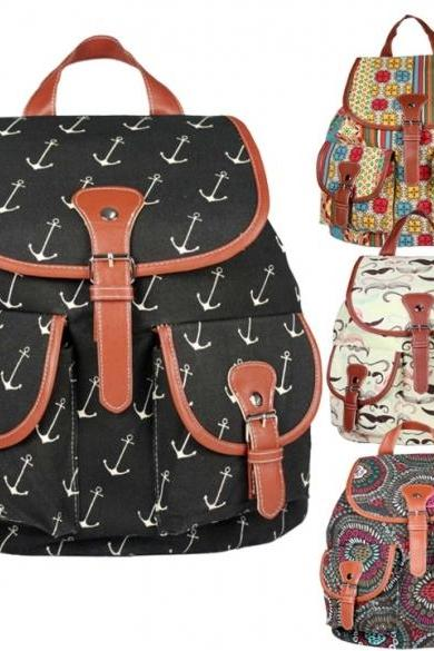 Women's Rucksack School Bag Satchel Canvas Backpack
