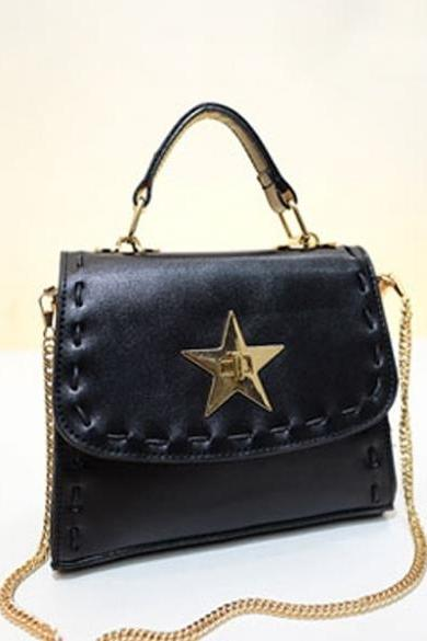 Fashion Korean Style Pure Color String Pentagram Lock Catch Waterproof Cross Bag